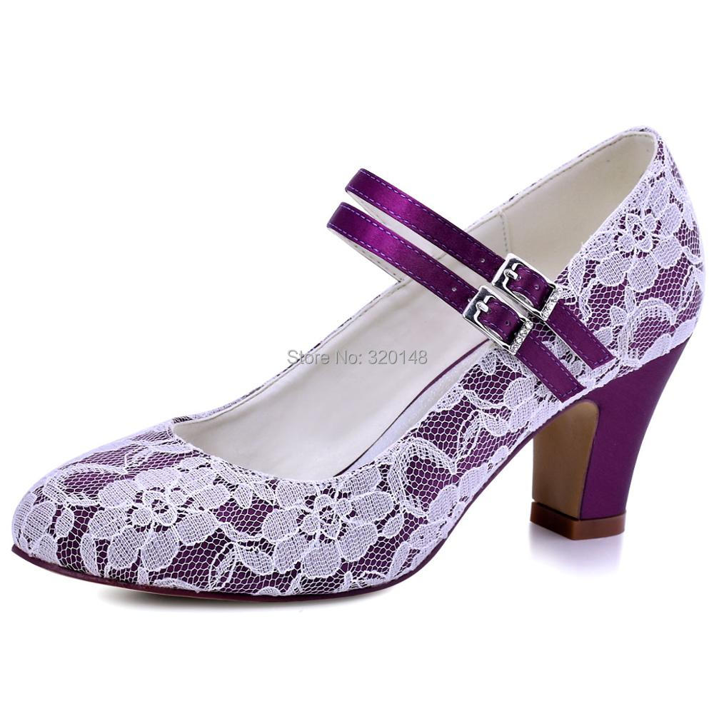 Hc1701 Woman Wedding Bridal Shoes Block Heel Comfort Mary Jane