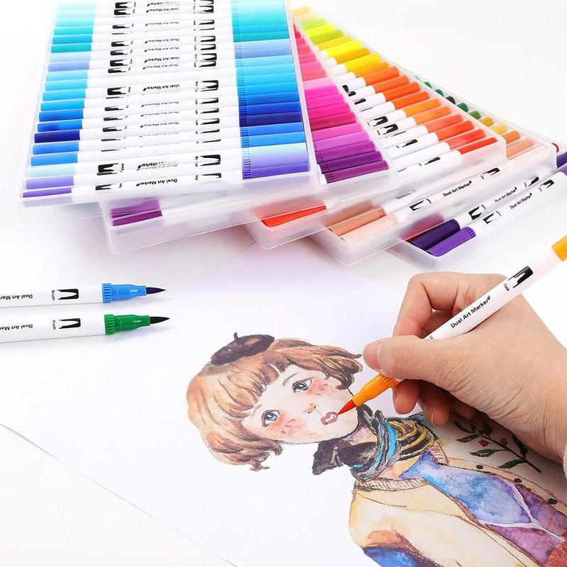 12 /24/36/48/60/100 Colors Double-headed Watercolor Pen Cross-borderMarker Set Brush Pen Hook Line Pen Art Marker