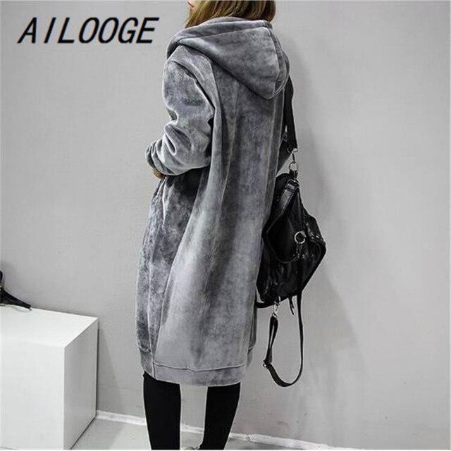€ 26.93 50% de DESCUENTO AILOOGE 2018 otoño nuevo terciopelo abierto mujeres con capucha básica abrigos chaqueta Casual mujer invierno largo moda