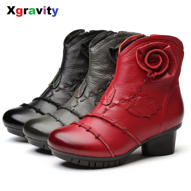2018 Hot New Round Toe Boots Elegant High Heeled Shoes Genuine Leather Ankle Boots Comfo ...