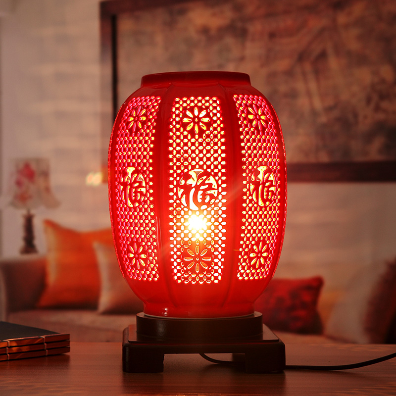 Chinese table lamp bedroom bedside creative living room - Porcelain table lamps for living room ...