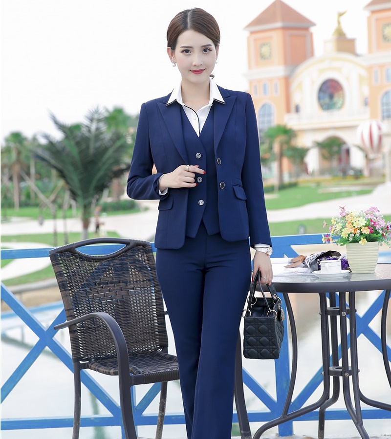 Formal Blue Blazer Women Business Suits 3 Piece Waistcoat Pant and Jacket Sets Office Ladies Work Wear Uniforms