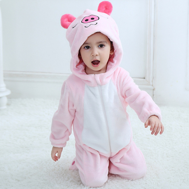 7915dfc2c 0-3 Years Old Infant and Baby Boy Girl Flannel Rompers Cute Pink Piggy  Cartoon New Born Cotton Romper Playsuit Clothes