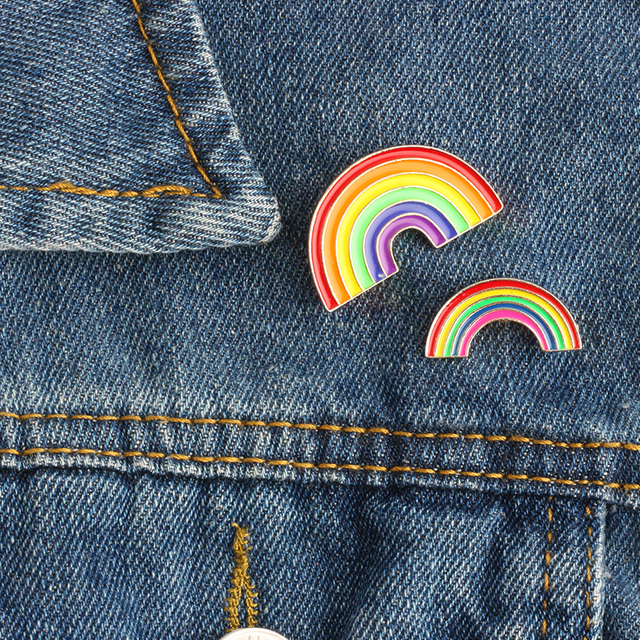 Di modo Variopinto Dello Smalto Pin Spille Per Le Donne Del Fumetto Creativo Mini Arcobaleno Spilla In Metallo Pin Cappello di Denim Distintivo Del Collare Dei Monili