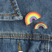 Fashion Colorful Enamel Pin Bros untuk Wanita Kartun Kreatif Mini Rainbow Logam Bros Pin Denim Topi Lencana Kerah Perhiasan(China)