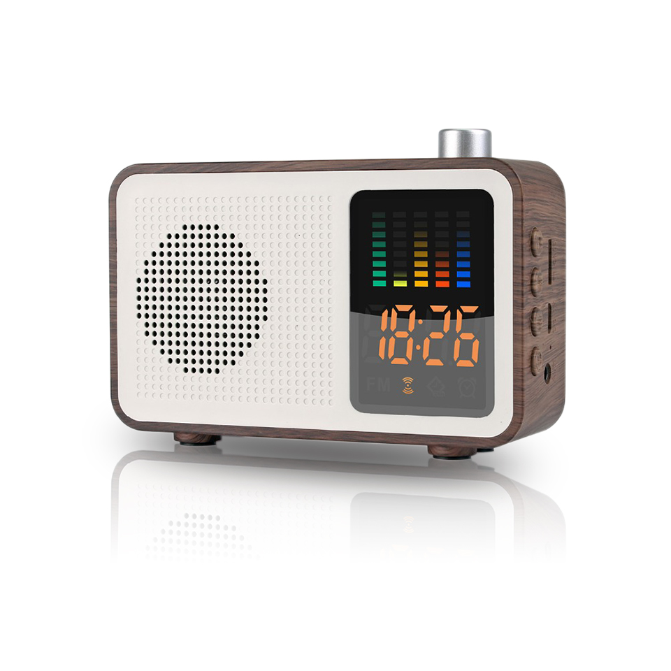 Retro Literary Wood Grain Wireless Mini Bluetooth Speaker Portable Alarm Clock Subwoofer Bluetooth Radio Handsfree MP3 Speaker