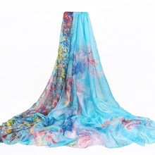 все цены на 2019 200*150cm Summer Print Silk Scarf Oversized Chiffon Scarf Women Beach Pareo Cover Up Wrap Sarong Sunscreen Long Cape Female онлайн