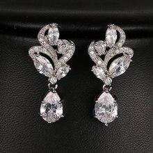 Женские серьги подвески с фианитом свадебные камнем маркиза