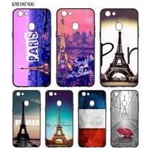 Black Silicon Soft Phone Case Frenchman flag Culture Eiffel Tower  For OPPO F5 F7 F9 A5 A7 R9S R15 R17 Bag