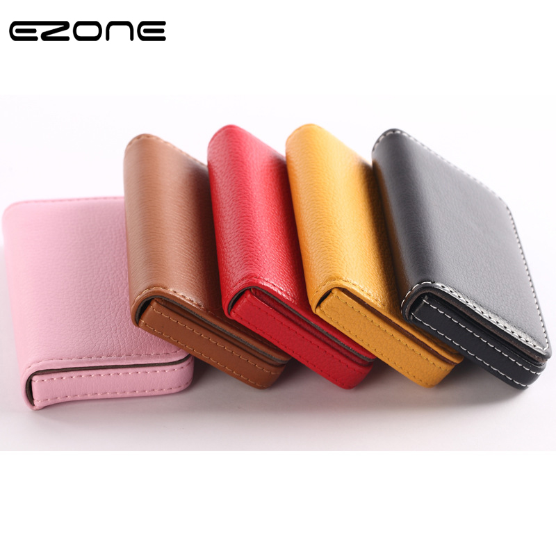 EZONE 1PC Business Card Holder PU Leather High Quality Card Bag High-end Rose Red/Apricot/Coffee 9 Color Magnetic Button Design