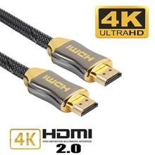5 metre yüksek kaliteli örgülü HDMI kabloları 4K V2.0 Ultra HD kablo HD TV lcd diz üstü projektör bilgisayar 1m 1.5m 2m 3m 5m