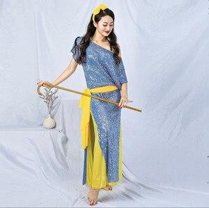 Image 1 - חדש נצנצים נשים בלאדי Shaabi Saidi תלבושות 4 חתיכה סט חלוק בטן ריקוד שלב להראות ביצועים תלבושת Loose עיצוב