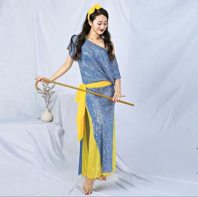חדש נצנצים נשים בלאדי Shaabi Saidi תלבושות 4 חתיכה סט חלוק בטן ריקוד שלב להראות ביצועים תלבושת Loose עיצוב