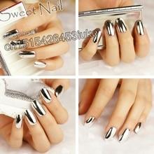 Sexy fashion fake nails nail metal plate short dimension Pure Silver  N06