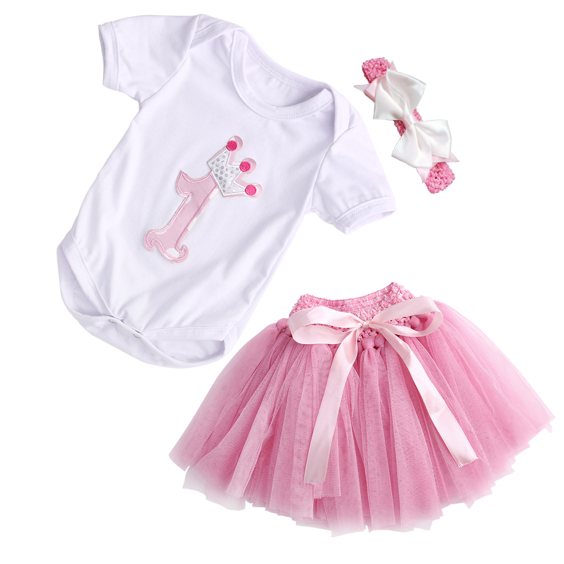 2016 New Baby Girls Summer Dress kids 1st Crown Romper Headband Birthday Tutu Dress Outfit 3pcs