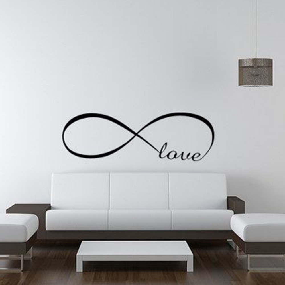 lovely living room wall decals | Infinity Symbol Words LOVE Wall Sticker Vinyl Bedroom Wall ...