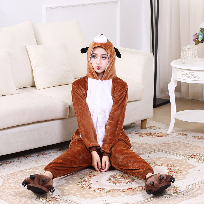 Cute Brown Dog Onesie Flannel One-Piece Pajamas Kigurumi Animal  Doggie Sleepwear Women And Men For Halloween Cosplay Party (8)