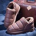 Nuevo 2017 Unisex Invierno Caliente Abajo Zapatillas de Algodón Par de Zapatillas de Casa de Algodón acolchado Zapatos Caseros de Interior de Los Hombres