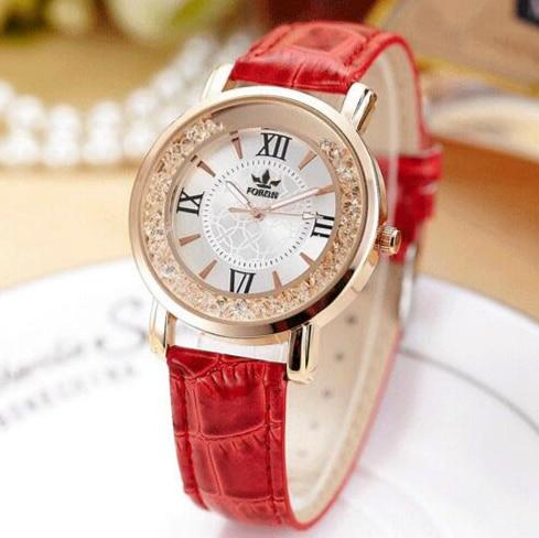 FORON Luxury Women Crystal Dress Watches Top Brand Fashion Quartz Watch Genuine Leather Watch Women Casual Clock relogiofeminino