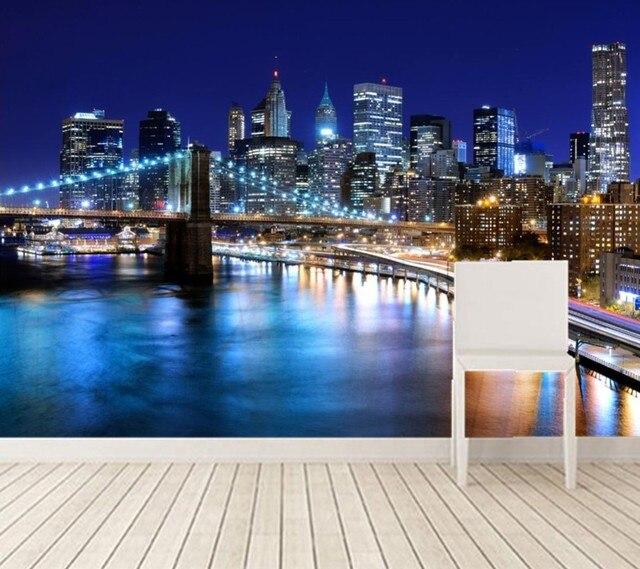 The Living Room Music Brooklyn: 3D Behang, New York Mooie Nacht, Gebouw En Brug Onder De