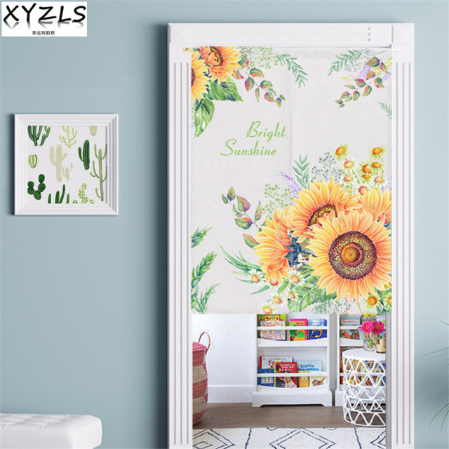XYZLS Kitchen Curtain Cotton Linen Door Curtain Sunflower/Leaf/Plant Door Valance Printed Short Curtains For Kitchen/Living Room