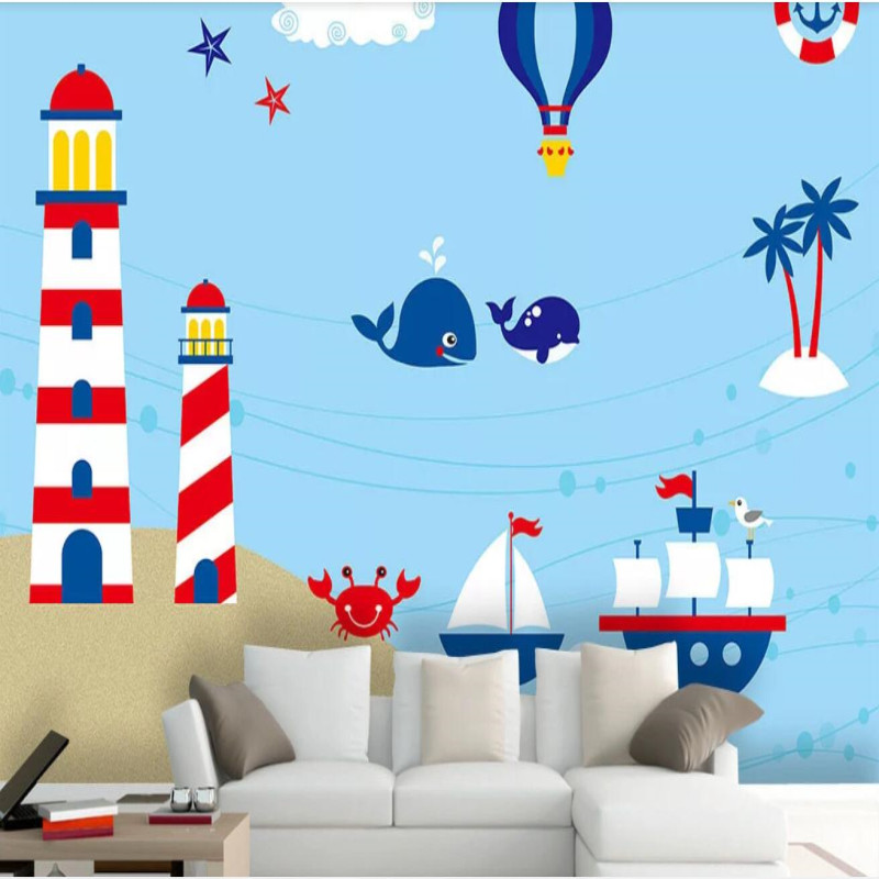 Factory direct ocean world cartoon sofa, bedroom, living room wall