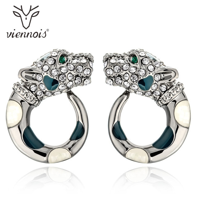 Viennois Gold Gun Color Leopard Stud Earrings For Women Rhinestone Enamel Fashion Wedding Party