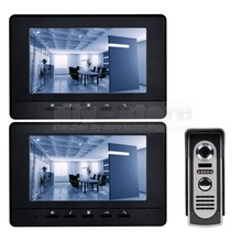 DIYSECUR 7inch Video Intercom Video Door Phone 800 x 480 Screen IR Night Vision Outdoor Camera Black 1v2