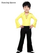 2016 Boy Latin Dance Dress Children Ballroom Dance/Cha Cha/Rumba/Samba/Tango Dress Dancewear Top&Pants Kids Dance Costume DQ6019