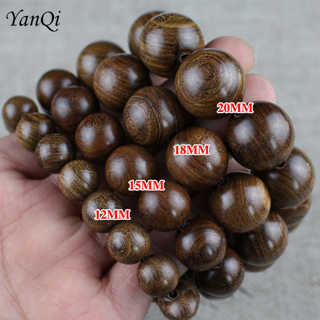 Yanqi 6 20mm wood sandalwood prayer beads elastic bracelet men jewelry Authentic African Buddha wood bead bracelet beads