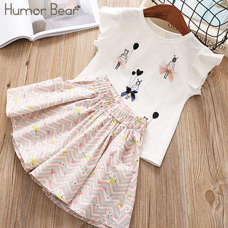 a5ceb159fee Humor Bear Girls Clothes 2018 Brand Little Girl Pattern Design Girls  Clothing Sets baby clothes Toddler