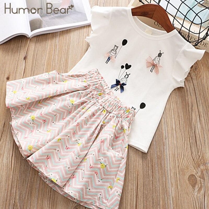 Humor Bear/Одежда для девочек, 2019, брендовые Дизайнерские комплекты одежды для маленьких девочек с рисунком, одежда для малышей, топы для маленьких девочек + штаны, От 2 до 6 лет|Комплекты одежды| | АлиЭкспресс