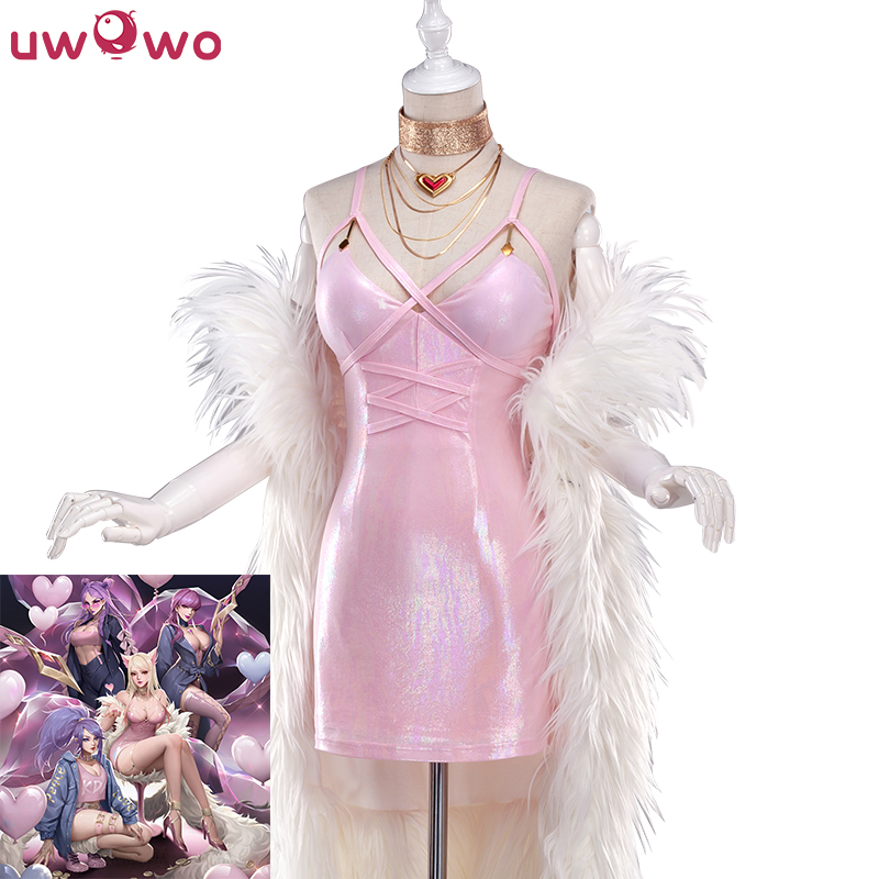 UWOWO Game LOL Ahri Cosplay Costume K/DA  Ahri Cosplay LOL KDA Halloween Women Pink Sexy Cosplay Costume
