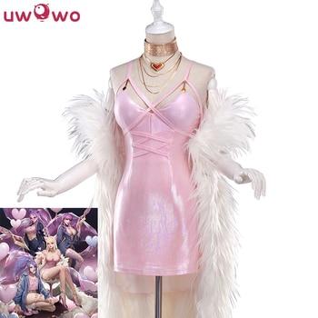 UWOWO Game LOL Ahri Cosplay Costume K/DA  Ahri Cosplay LOL KDA Halloween Women Pink Sexy Cosplay Costume
