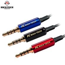 Jack 3.5 8pcs 4Poles Copper Gold Plated Stereo Plug 3.5 for Audio Speaker Earphone DIY Repairing 3.5 mm Plug Jack
