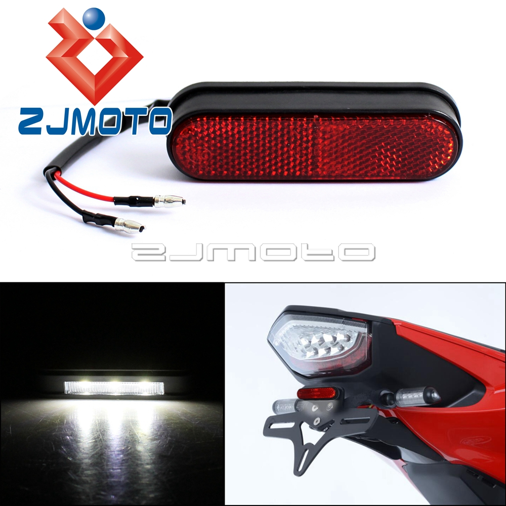 1Piece ZJMOTO Universal Motorcycle Rear Reflector License Plate Light Streetbike Emark Tail Red Reflector LED Number Plate Light