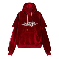 New Winter Hoodies Women Clothes Harajuku Velour Embroidery Hooded Sweatshir Tops Plus Size Loose Long sleeved Casual Coat LR311