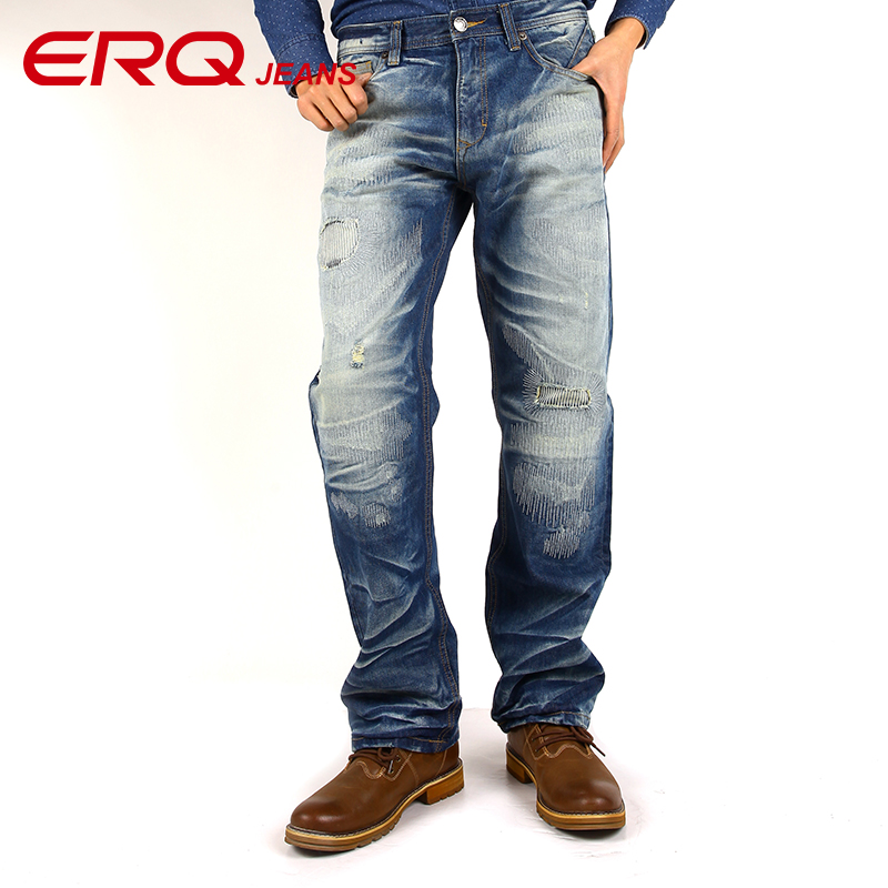 ERQ Famous Brand Jeans Men 2017 Slim Fit Pencils Pants Ripped Jeans For Man Biker Denim Trousers Pockets Designer 11379 men s casual pleated stretch denim biker jeans for moto pockets cargo pants slim long trousers