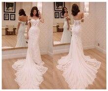 לורי שנהב נסיכת חתונה שמלות כבוי כתף 2019 Robe דה mariee בציר תחרה בת ים כלה שמלה אלגנטית שמלת כלה