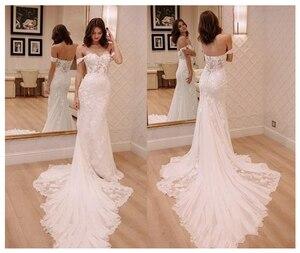 Image 1 - LORIE Elfenbein Prinzessin Hochzeit Kleider Weg Von Der Schulter 2019 Robe de mariee Vintage Spitze Meerjungfrau Brautkleid Elegante Hochzeit Kleid