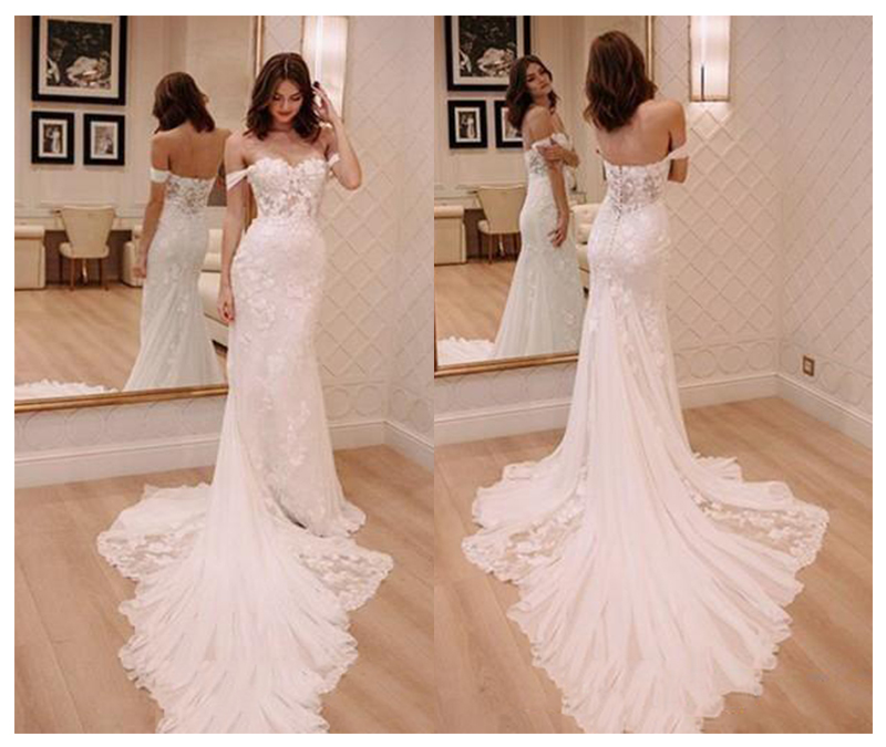 LORIE Ivory Princess Wedding Dresses Off The Shoulder 2019 Robe De Mariee Vintage Lace Mermaid Bridal Gown Elegant Wedding Gown