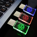Crystal USB Flash Drives with Volkswagen's VW Logo 4GB 8GB 16GB 32GB 64GB USB 2.0 Flash Disk Stick Pen Drive with LED Light