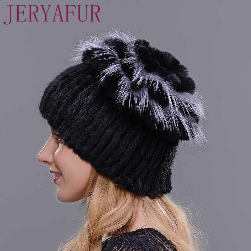 Yeni Kış Doğal Ithal Vizon Kürk Şapka Kadınlar Için Tavşan Kürk Petal Üst Mix Fox Kürk Sıcak ve Moda Sıcak Kulak Kapağı