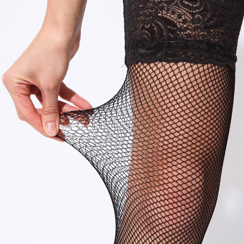 Sexy Fishnet Stockings Lace Up Silicone Over Knee Nylon Stockings Women Non-slip Hollow Out Mesh Femle Stockings Medias Mujer