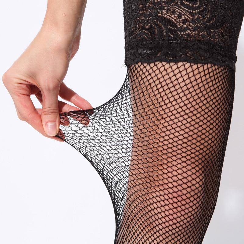 Сексуальные чулки в сеточку, силиконовые Чулки выше колена на шнуровке, нейлоновые чулки, женские нескользящие ажурные сетчатые чулки «Medias...