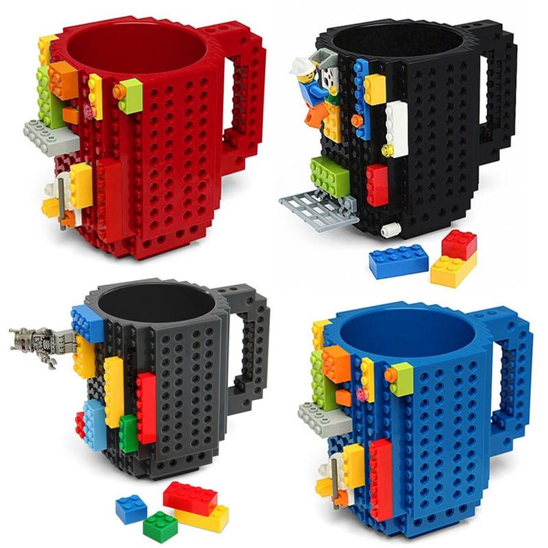 1 Pc 12 oz Caneca de Construir-Em Tijolo Tipo Blocos de Construção Copo de Café DIY Bloco Puzzle Caneca Drinkware Portátil potável Caneca 4 Cores