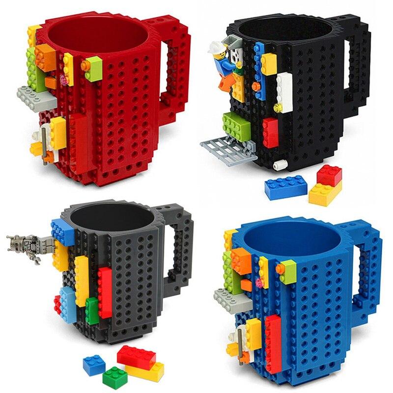 1 punid 12 oz taza de ladrillo tipo bloques de construcción taza de café DIY bloque rompecabezas taza portátil Drinkware beber taza 4 colores