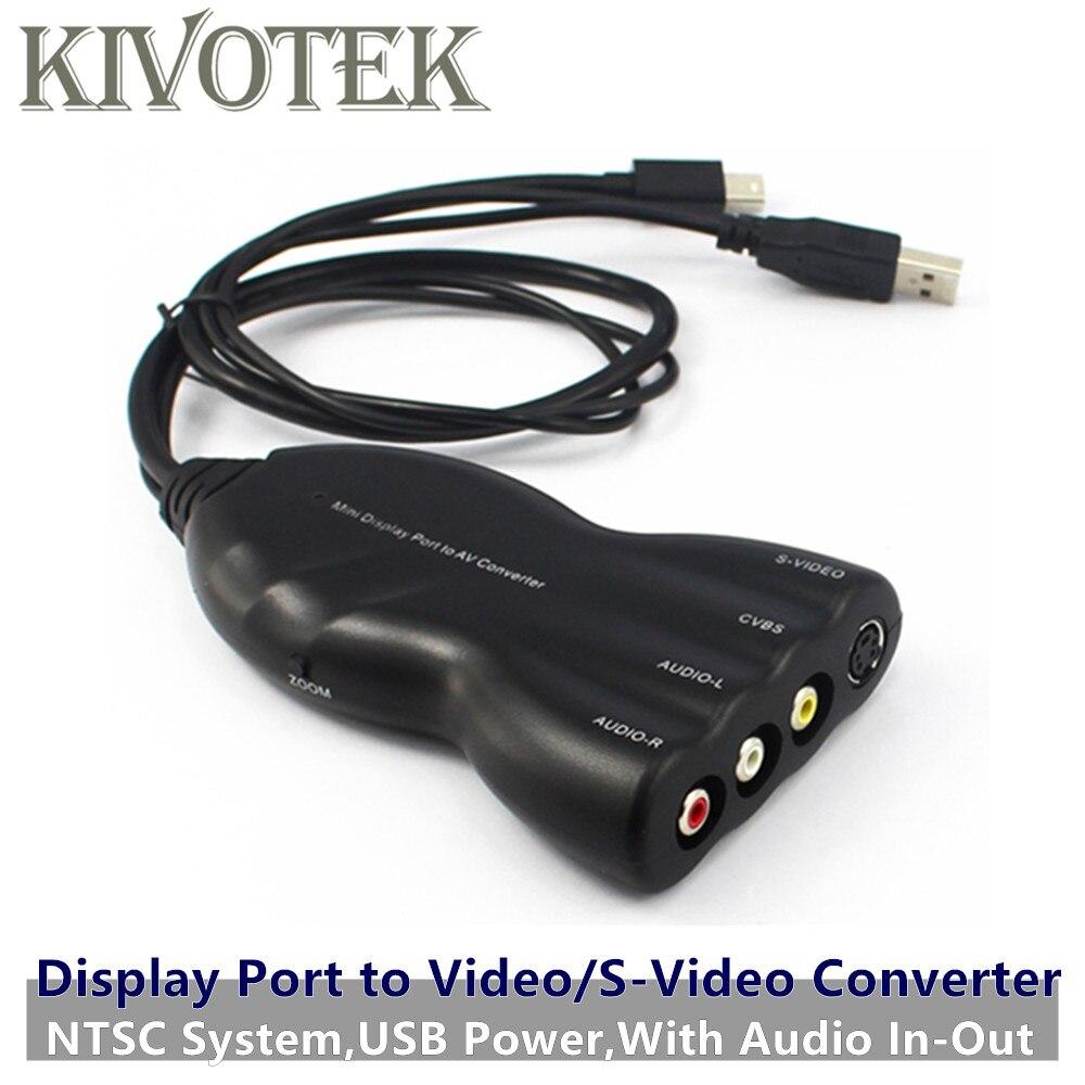 2 pcs/lot Mini affichage DP à AV/vidéo/s-vidéo Audio convertisseur adaptateur connecteur femelle, NTSC, USB alimentation, pour TV CRT/LCD livraison gratuite