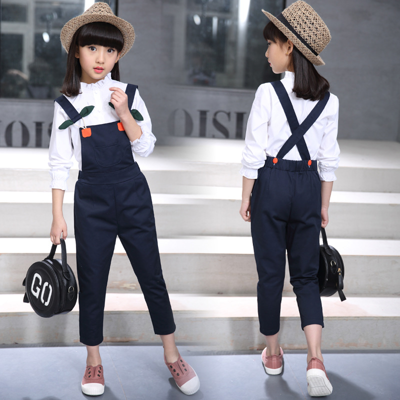 Toddler Girl Clothes Autumn Long Sleeve White Blouse + Overalls Jeans Two Pieces Back To School Outfits Kids Teens Clothes 10 12 elegant trumpet sleeve open back blouse