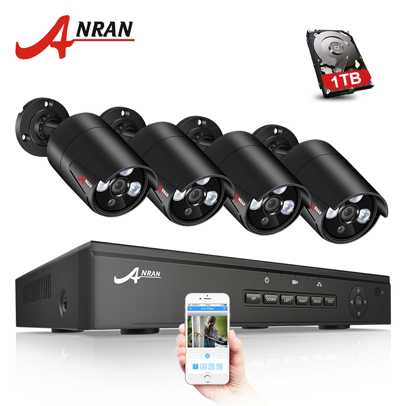 ANRAN P2P Plug And Play 4CH NVR 48V POE CCTV System 1080P HD Array IR Motion Detection Outdoor Security POE IP Camera 2TB HDD hbss 4ch 1 0m hd 2tb hdd poe ip66 waterproof motion detection 1280 720p ir night vision outdoor mult lang surveillance system